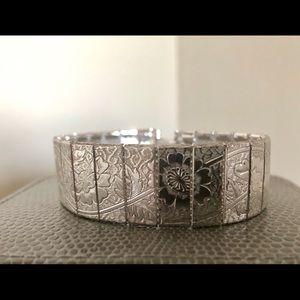 1960s Victorian Revival Silver Mesh Bracelet